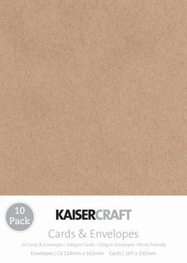 Kaisercraft - Cards & Envelopes - C6 Kraft (10pk)