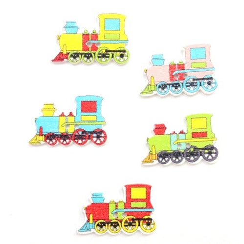 Artfull Embellies - Wooden Buttons - Trains
