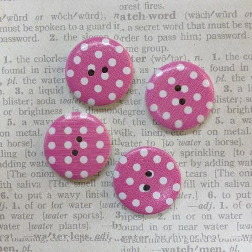Artfull Embellies - Wooden Buttons - Large Pink Polka Dot