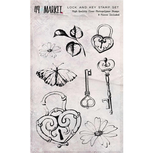 49 and Market - Sweet Reflections - Lock and Key Stamp Set