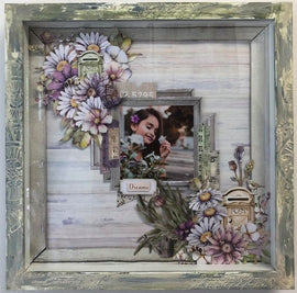 "Embellish It - 12x12"" Shadow Box Frame - Forest Green with Cream Wash"