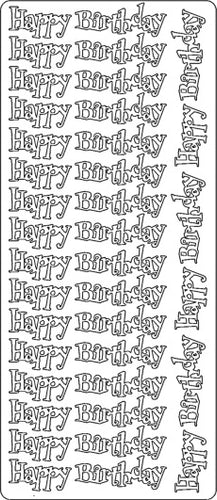 PeelCraft Stickers - Happy Birthday - Silver (PC2732S)