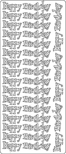 PeelCraft Stickers - Happy Birthday - Black (PC2732BK)