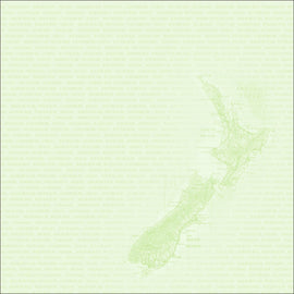 Craft Co - NZ Papers - Around NZ - 12x12 Paper NZ Map Green