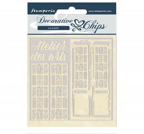 "**Pre-Order** Stamperia - Decorative Chips (14x14cm) - Atelier des Arts ""Door"""