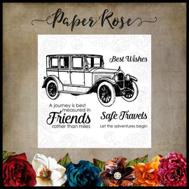 "Paper Rose - Vintage Car 3x4"" Clear Stamp Set"