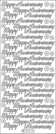 PeelCraft Stickers - Happy Anniversary - Black (PC302BK)