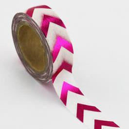 Artfull Embellies - Washi Tape - Pink Chevron (Metallic)