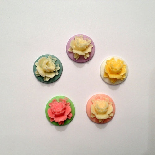 Artfull Embellies - Resin Shapes - Round Rose Cameos