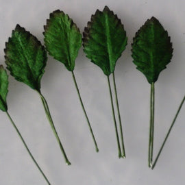 Mulberry Paper Rose Leaves - Green 25mm (25pk)