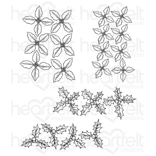 Heartfelt Creations - Poinsettia & Holly Clusters - Stamp Set