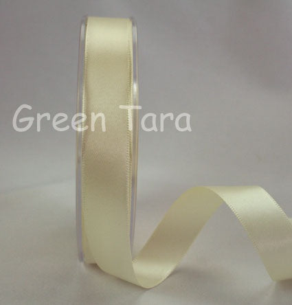 Green Tara Double-Sided Satin Ribbon - 6mm - Ivory