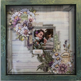 "Embellish It - 12x12"" Shadow Box Frame - Bluey Green with Cream Wash"