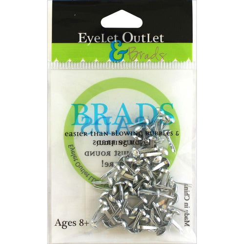 Eyelet Outlet and Brads - 4mm Round Brads - Shiny Silver