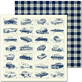 Craft Co - Pavlova Heritage - 12x12 Paper Classic Cars Navy