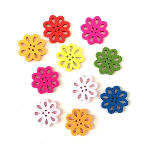 Artfull Embellies - Wooden Buttons - Candy Outline Flowers