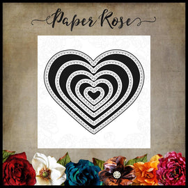 Paper Rose - Nesting Stitched Hearts Die Set