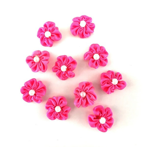 Artfull Embellies - Fabric Flowers - Small Satin - Hot Pink