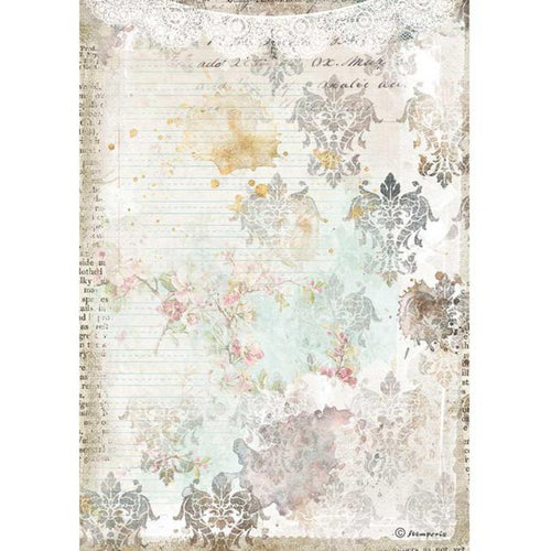 "**Pre-Order** Stamperia - A4 Rice Paper - Romantic Collection - Journal ""Texture with Lace"""