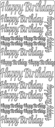 PeelCraft Stickers - Happy Birthday Large Text - Gold (PC2694G)