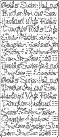 PeelCraft Stickers - Relations Assorted Text - Gold (PC2719G)