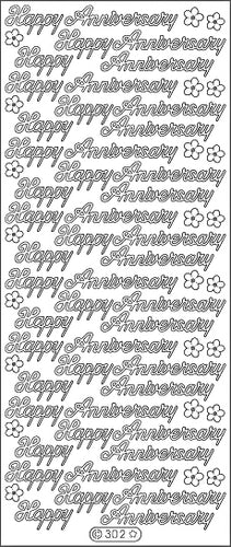 PeelCraft Stickers - Happy Anniversary - Silver (PC302S)