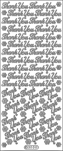 PeelCraft Stickers - Thankyou Flowers - Silver (PC303S)