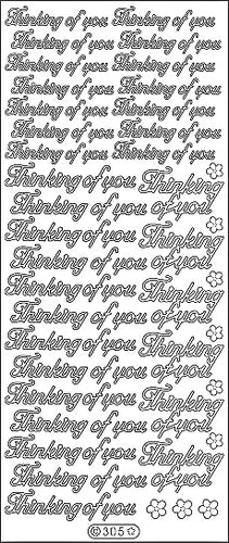 PeelCraft Stickers - Thinking of You Text - Silver (PC305S)