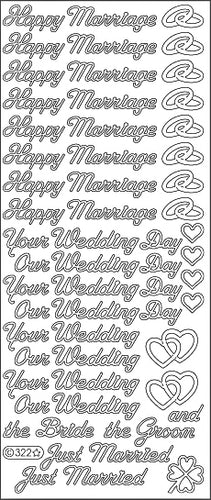 PeelCraft Stickers - Wedding Assorted Text - Silver (PC322S)