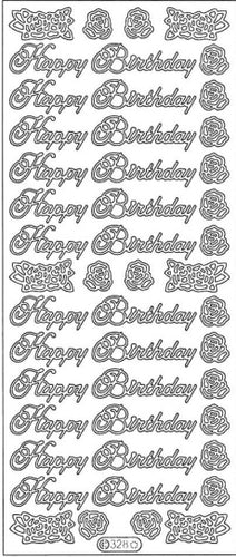 PeelCraft Stickers - Happy Birthday & Roses - Black (PC328BK)