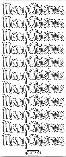 PeelCraft Stickers - Merry Christmas Script - Glitz Crystal Silver (PC372LS)