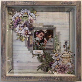 "Embellish It - 12x12"" Shadow Box Frame - Lavender with Cranberry Wash"