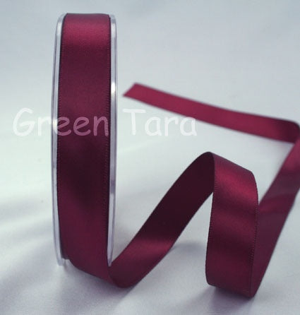 Green Tara Double-Sided Satin Ribbon - 6mm - Burgandy