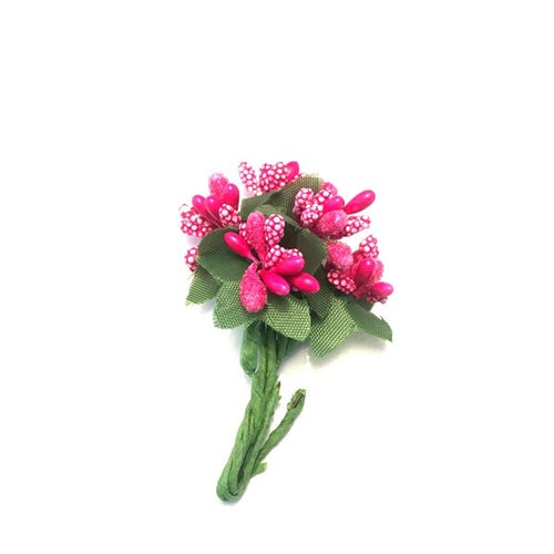 Artfull Stamens - Medium Beaded Cluster with Leaves - Hot Pink