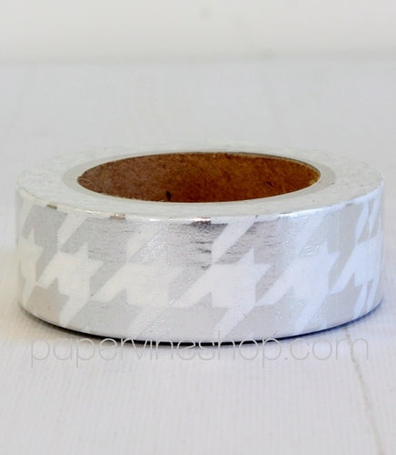 Artfull Embellies - Washi Tape - Silver Houndstooth (Metallic)