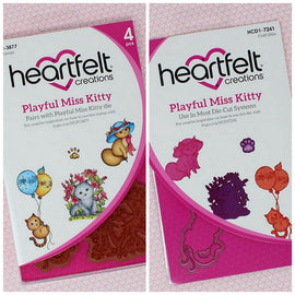 Heartfelt Creations - Purr-fect Posies - Playful Miss Kitty Stamps & Die Combo
