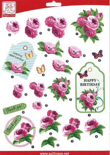 Sullivans - 3D Die Cut Decoupage Paper - Happy Birthday