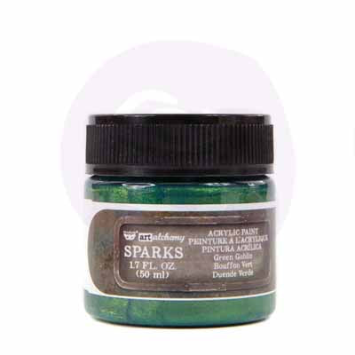 Prima Marketing - Finnabair Art Alchemy - Sparks Acrylic Paint - Green Goblin
