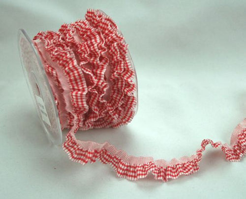 Green Tara Gingham Frill Ribbon - Red and White