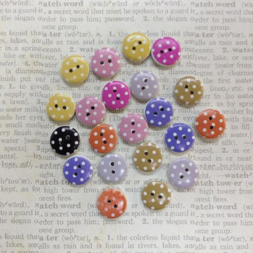 Artfull Embellies - Wooden Buttons - Pastel Polka Dots