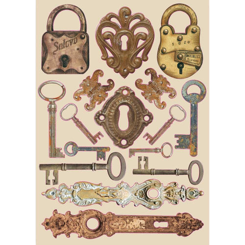 Stamperia - Lady Vagabond - Coloured Wooden Shape A5 - Locks and Keys