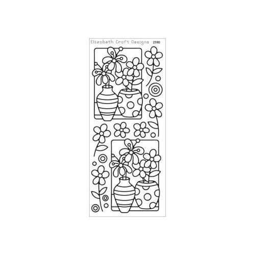 Elizabeth Craft Outline Stickers - Flower Vase - Black