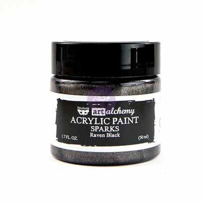 Prima Marketing - Finnabair Art Alchemy - Sparks Acrylic Paint - Raven Black