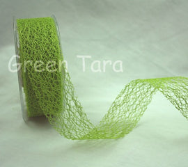 Green Tara 38mm Mesh Ribbon - Lime