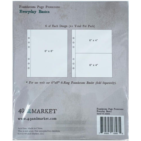 "49 and Market - Foundations 6x8"" Page Protectors - Everyday Basics"