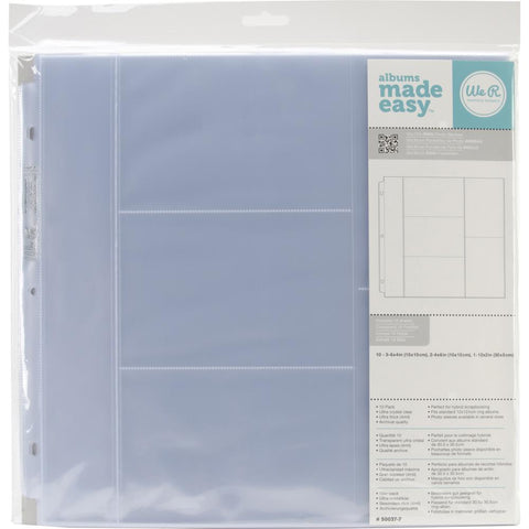 "We R Memory Keepers - 12x12 3-Ring Page Protectors - (3) 6""x4"" (2) 4""x6"" Photo Sleeves (10 pk)"
