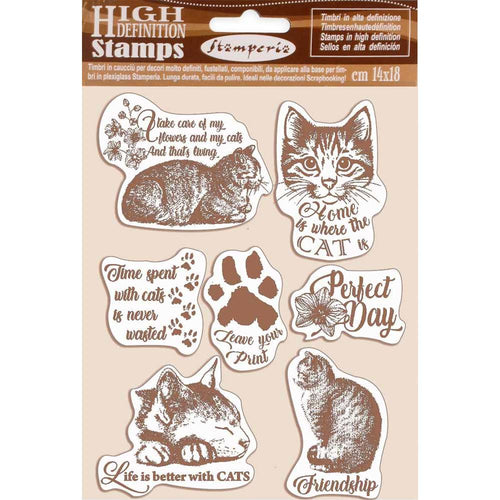 **Pre-Order** Stamperia - Orchids & Cats - HD Natural Rubber Stamp 14x18cm - Cats