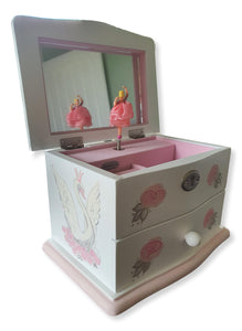 Musical Swan & Roses Jewellery Box - The Twinkle Toy Box Company