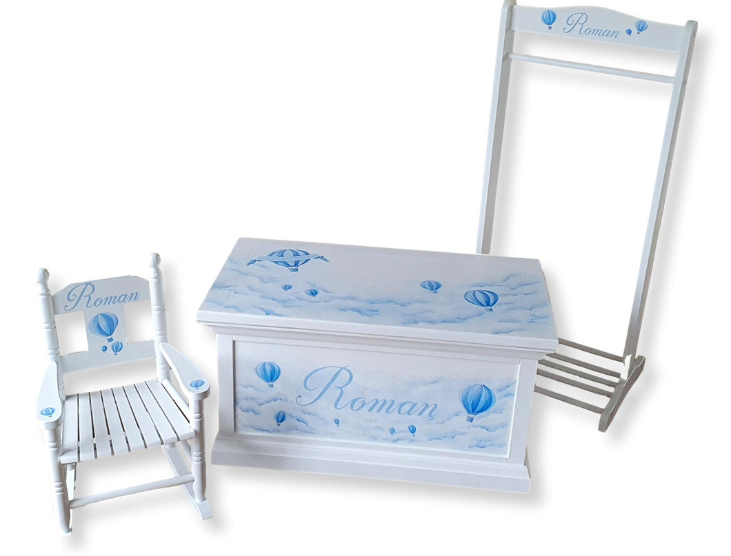 Playtime Collection - Deluxe Toy Box, Rocking Chair & Dressing Up Rail - The Twinkle Toy Box Company