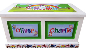 Double Panel Personalised Toy Box - The Twinkle Toy Box Company